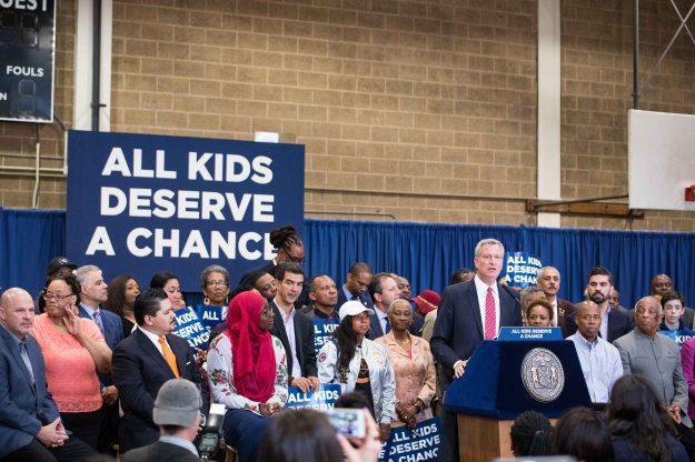 New York City Mayor Bill de Blasio makes an education announcement regarding specialized high school at J.H.S. 292 in Brooklyn, New York on Sunday, June 03, 2018.